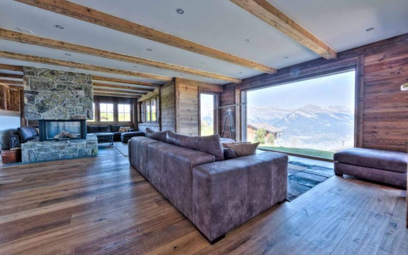 Indoor fireplace with views