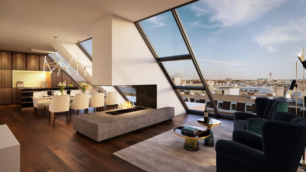 Luxury apartment penthouse with modern fireplace