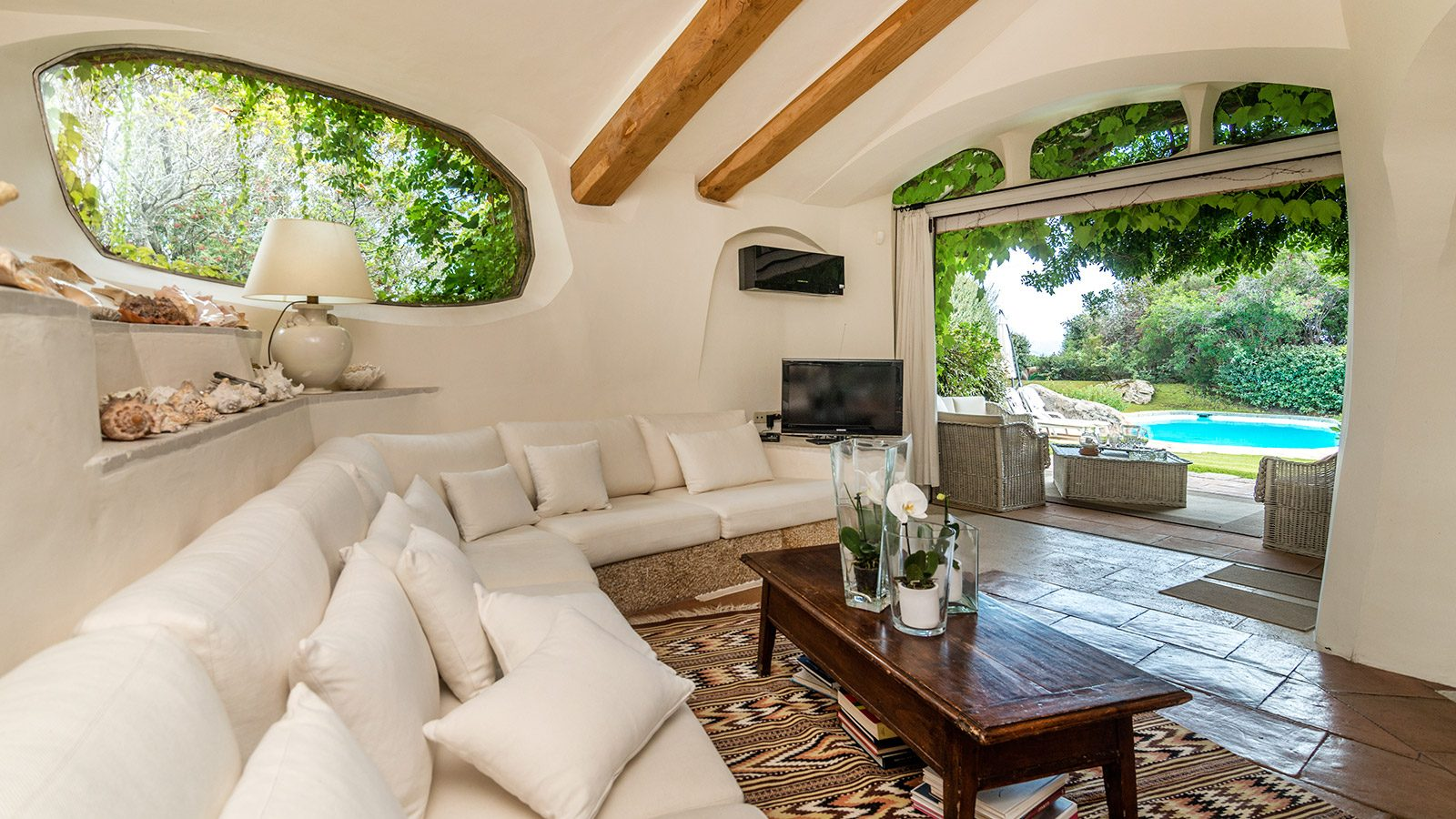 Covered lounge with views