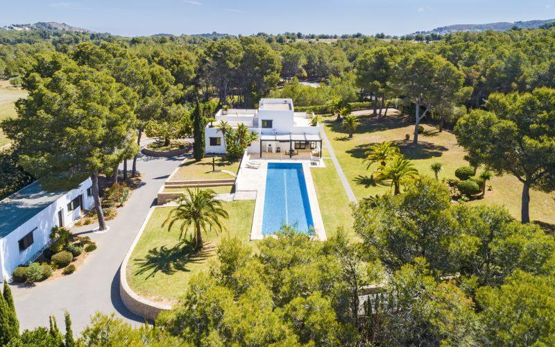 Ibiza-style villa set on a green natural landscape