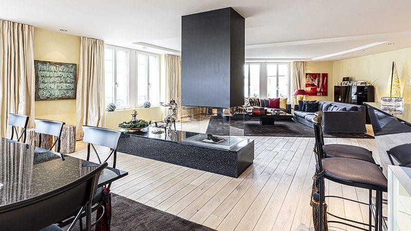 Elegant lounge area in St. Moritz